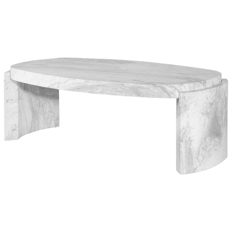 Tacca Centre Table in White Carrara Marble For Sale