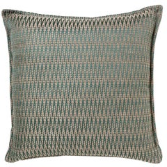 Brabbu Timberline Pillow in Blue and Beige Cotton-Linen Blend