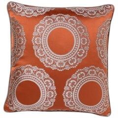 Brabbu Versailles Pillow in Orange Satin with Doily Pattern