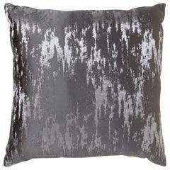 Vortex Pillow in Gray and Silver Satin