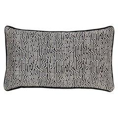Brabbu Wachuma Pillow in Black Twill with Geometric Pattern
