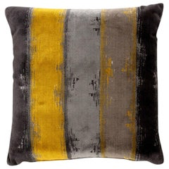 Xhosa Pillow in Yellow, Gray and Charcoal Twill
