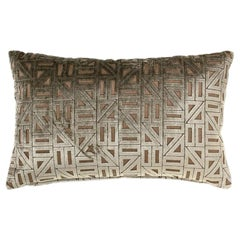 Brabbu Zellige Pillow in Beige & Tan Velvet with Geometric Pattern