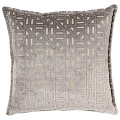 Brabbu Zellige Pillow in Gray Velvet with Geometric Pattern