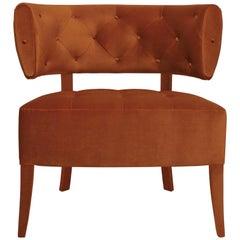 Brabbu Zulu Armchair in Rust Cotton Velvet