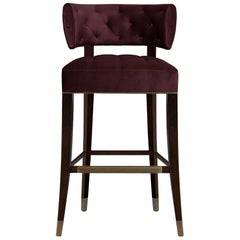 Zulu Counter Stool in Cotton Velvet With Aged Brass Details