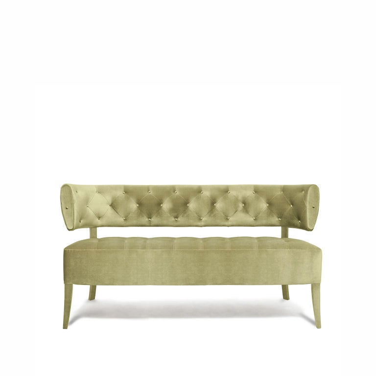 Portuguese Zulu Sofa in Cotton Velvet and Fully Upholstered Legs For Sale