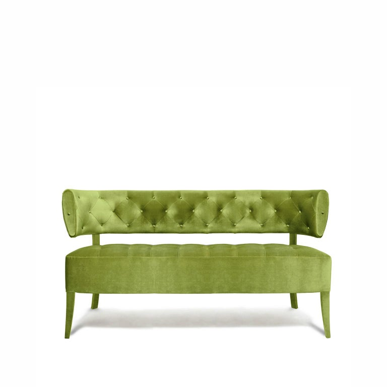 Contemporary Zulu Sofa in Cotton Velvet and Fully Upholstered Legs For Sale