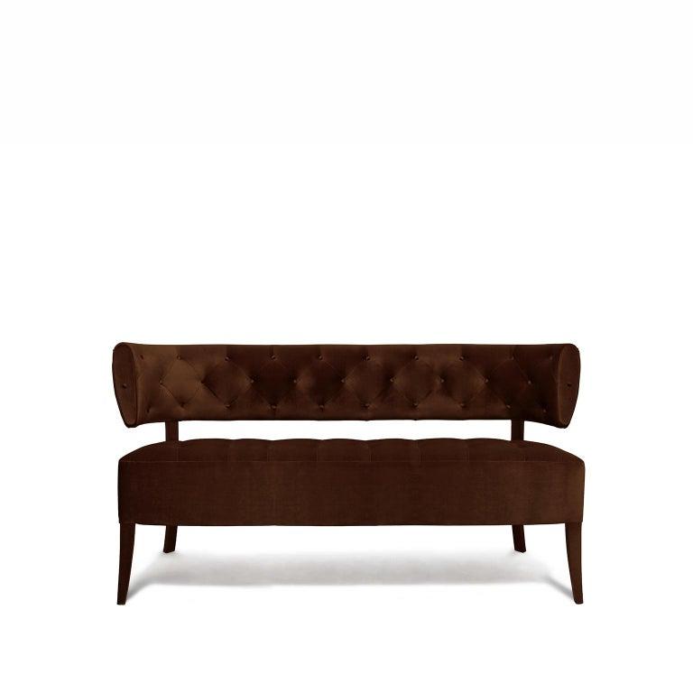 Zulu Sofa in Cotton Velvet and Fully Upholstered Legs For Sale 1