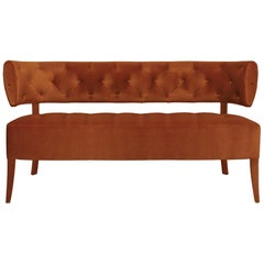 Zulu Sofa in Cotton Velvet and Fully Upholstered Legs
