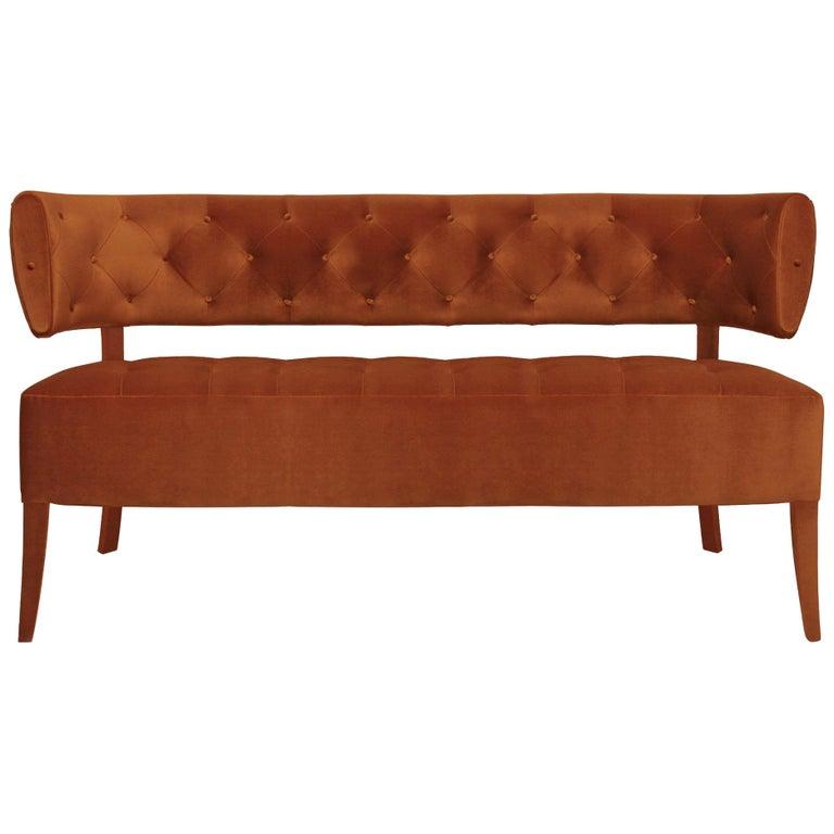 Zulu Sofa in Cotton Velvet and Fully Upholstered Legs For Sale