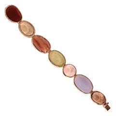 Bracelet 165.99 Carat of Multicolored Quartz 14 Karat Yellow Gold