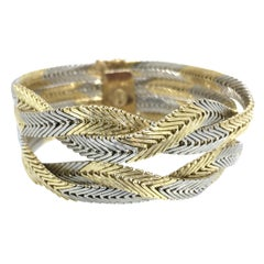Bracelet, 18 Carat Gold, Braided Gold Wires, Italian Design, 1970
