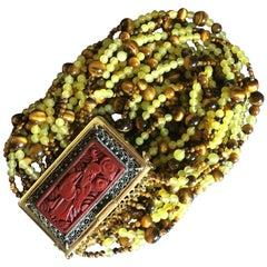 Bracelet 18 Karat Gold Agata Tiger Eyes Antique Cinese Lacquer, 1920