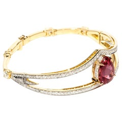 BRACELET 18 Karat Yellow Gold, IBGM Cert. 7.44 Carat Imperial Topaz & Diamonds