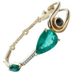 Bracelet 18 Yellow Gold, Emerald, White Diamonds & Black Diamond