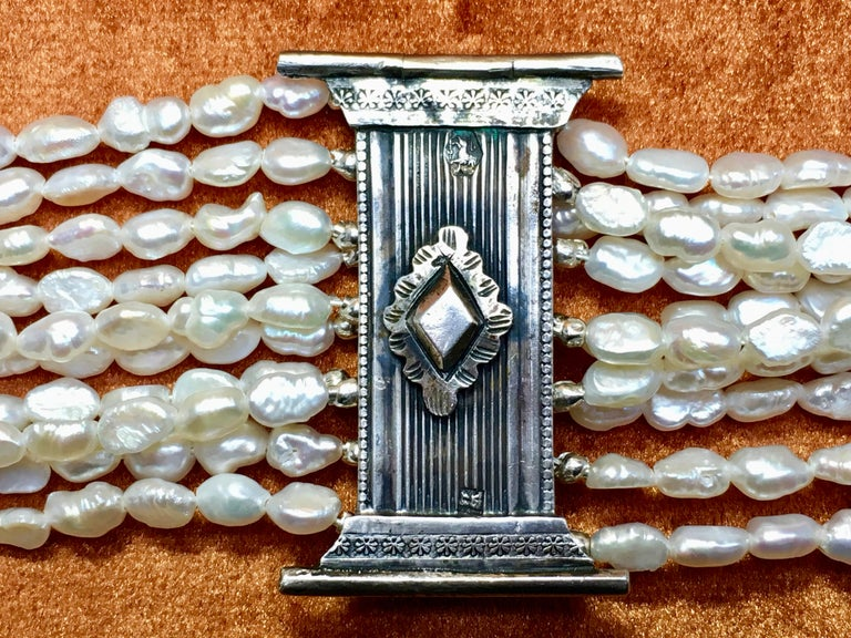 Bracelet, Antique Silver Bible Ornament, Pearl, 1880 For