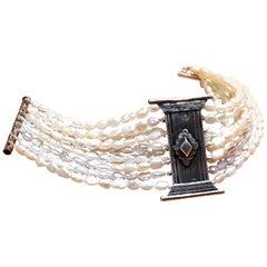 Bracelet, Antique Silver Bible Ornament, Pearl, 1880