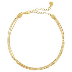 Bracelet Box Chain Slim 18 Karat Silver Gold-Plated Minimal Greek Jewelry