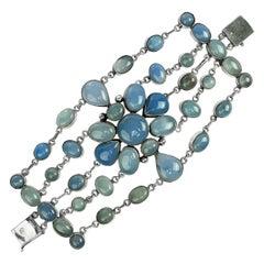 Bracelet Chalcedony Multi-Strand Arts & Crafts Style