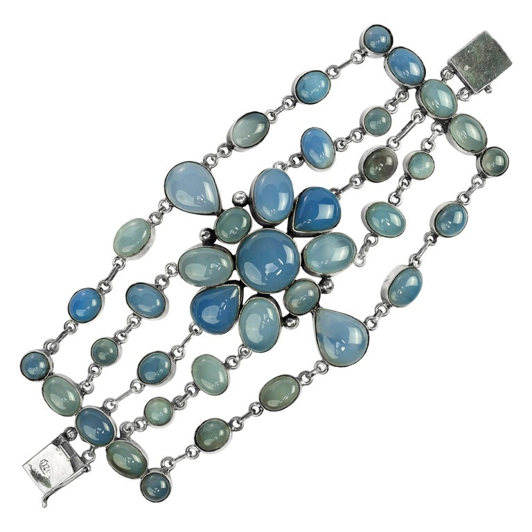 Chalcedony multistrand bracelet, ca. 1970s, offered by The Blue Paisley Fox