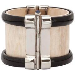Bracelet Cuff Art Deco Horn Sapphire Emerald Silver