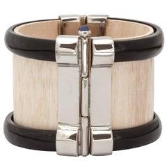 Bracelet Cuff Art Deco Horn Sapphire Silver