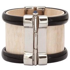Bracelet Cuff Art Deco Sapphire Silver