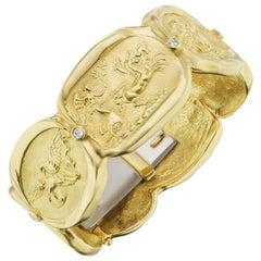 SeidenGang Greek Mythology Diamond Gold Seven Panel Bracelet