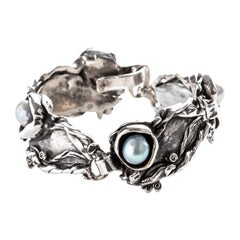 Bracelet in Silver with Pearls Brutalist and Unisex