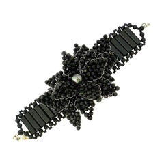 Bracelet made of black limestone and black Swarovski pearls