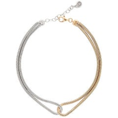 Bracelet Minimal Double Snake Chain 18K Gold Plated Silver Mixed Greek Jewelry