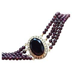 Bracelet, Pink Gold Ornament, Antique, Pearls, Four-Strand Garnets