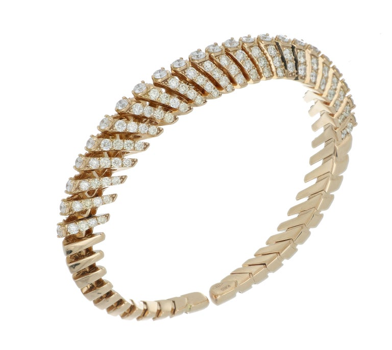 Bracelet Rose Gold 18 Karat with Cream and White Diamonds Color G VS, Handmade In New Condition For Sale In SESTO FIORENTINO, IT