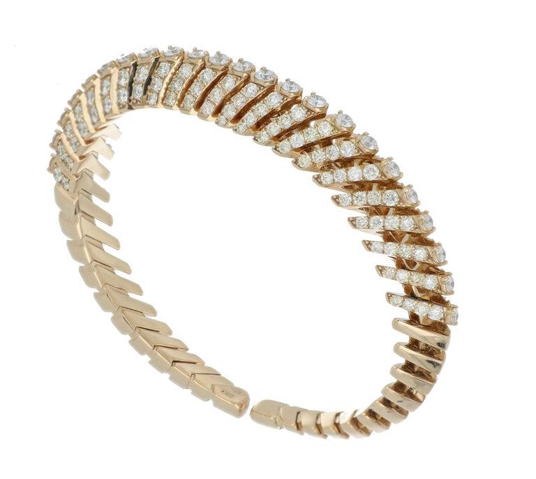 Bracelet Rose Gold 18 Karat with Cream and White Diamonds Color G VS, Handmade For Sale 1