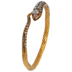Bracelet Snake Diamond and Gold