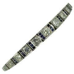 Bracelet, White Gold, Art Deco, Diamond, Sapphire, 1925