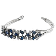 Bracelet, White Gold, Diamond, Sapphire