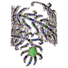 Bracelet White Gold Green Tourmaline Amethyst Sapphire 23.77 Carat Diamonds