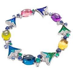 Bracelet White Gold White Diamonds BlueSapphire Emerald Amethyst Topaz Peridhote