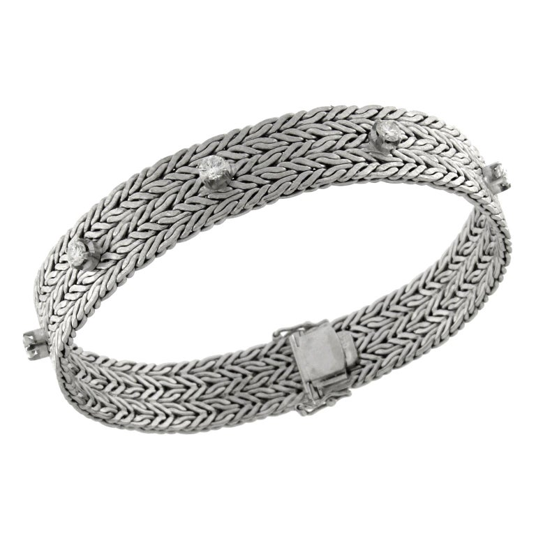 Bracelet White Gold with Diamonds For Sale