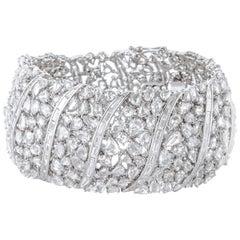 Bracelet with 25 Carat Assorted Shape Rose Cut Diamonds and Brilliant Baguettes