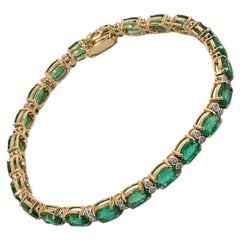 Bracelet with Diamonds and Emeralds, 585 Yellow Gold