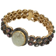 Bracelet with Green Rock Crystal Cabochon, Gold-Plated Silver