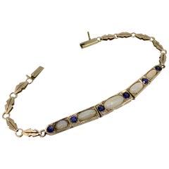 Bracelet, Yellow Gold, Art Deco, Sapphire, White Opal