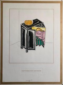 Triptychos Post Historicus Picasso Conceptual Art Silkscreen Gold Lithograph
