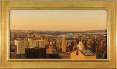 Twilight, East River, Framed in burnished gold leaf