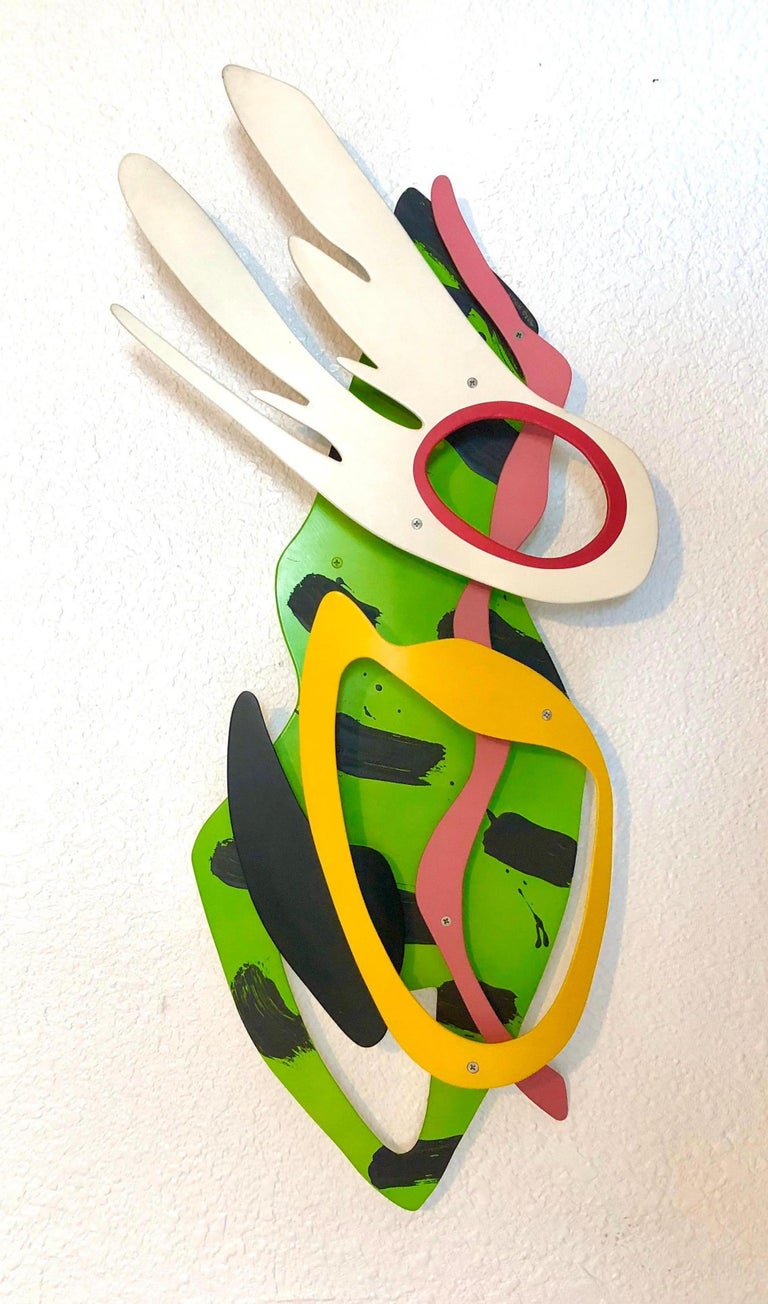 Seascape Abstract Wall Hanging Sculpture Brad Howe LA Artist Colorful Pop Art - White Abstract Painting by Brad Howe