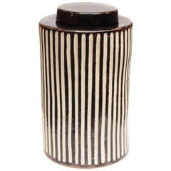 Braden Cylindrical Teabox in Large with Black Stripes by CuratedKravet
