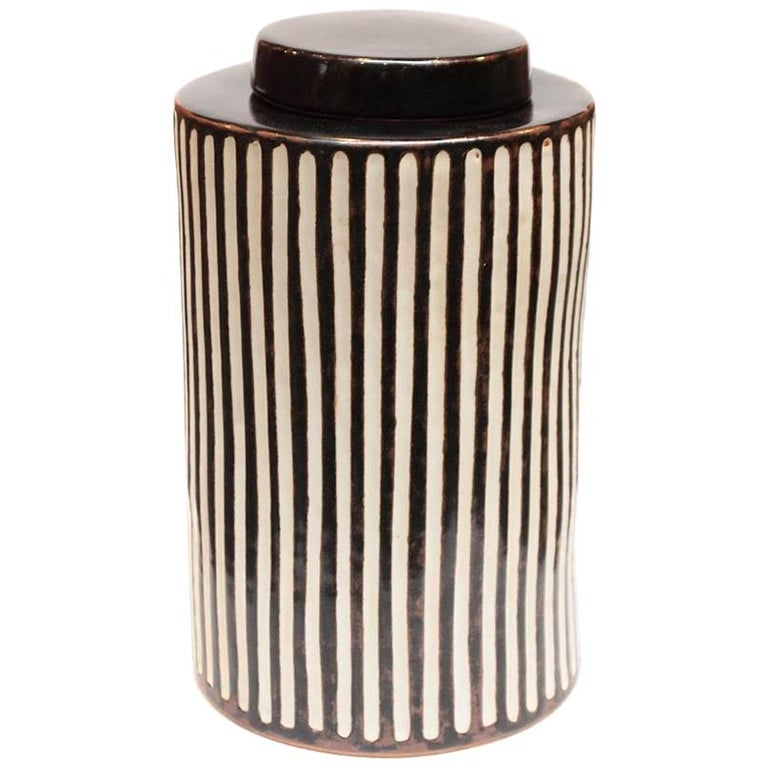 Braden Cylindrical Teabox in Medium with Black Stripes by CuratedKravet For Sale